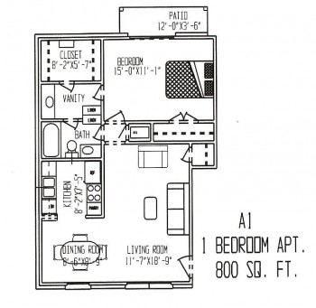 800 sq. ft. ABP floor plan