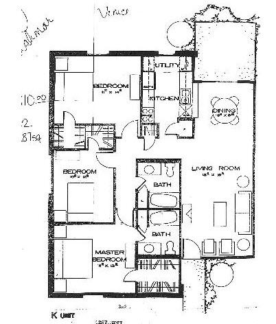 1,287 sq. ft. K floor plan