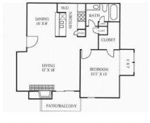 768 sq. ft. A5 floor plan