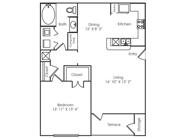 802 sq. ft. A2 floor plan