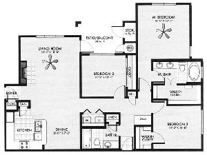 1,388 sq. ft. Terrazzo floor plan