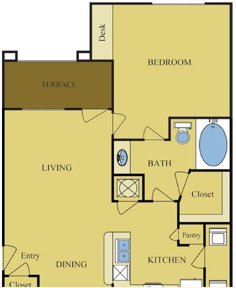 733 sq. ft. BIRCH floor plan
