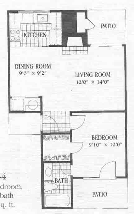 603 sq. ft. A4 floor plan