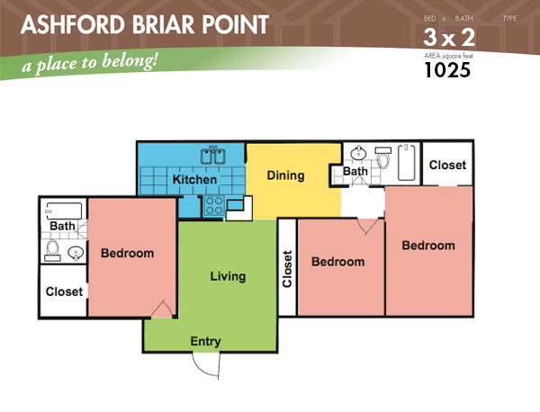 1,025 sq. ft. E floor plan