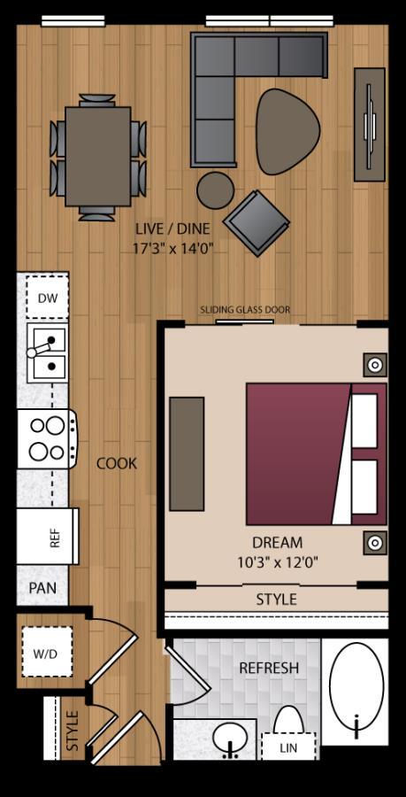 640 sq. ft. A3.2 floor plan