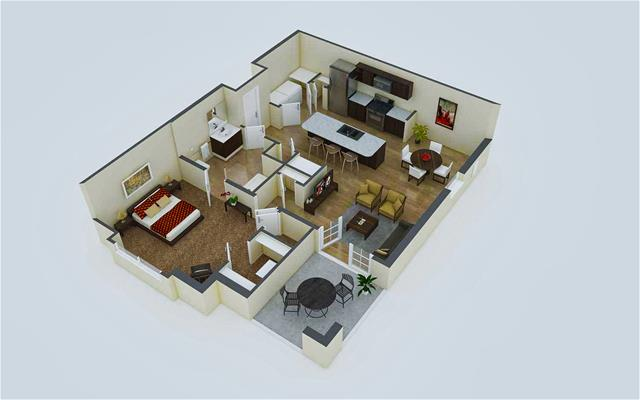 856 sq. ft. A1 floor plan