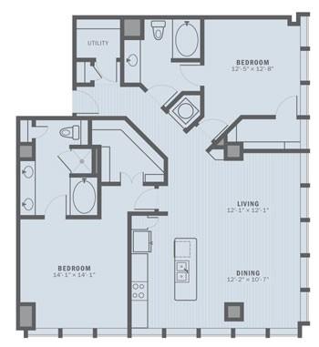 1,464 sq. ft. B5A floor plan