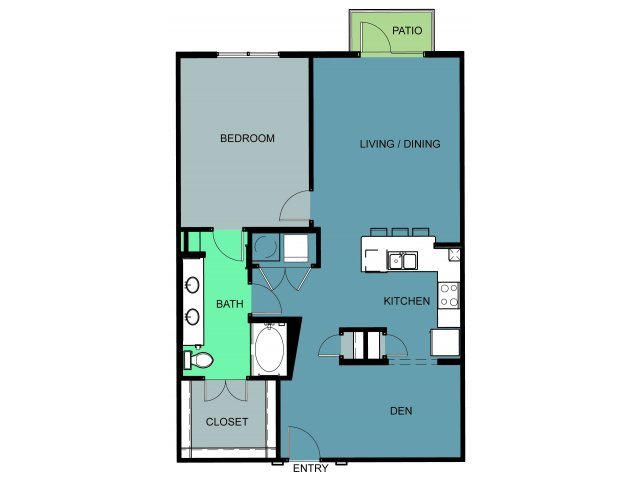 1,040 sq. ft. Bryce floor plan