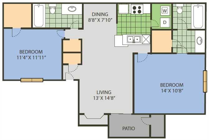 932 sq. ft. Baseline floor plan