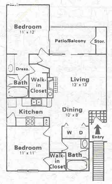 900 sq. ft. F floor plan