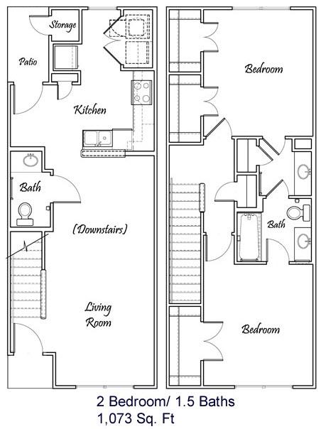 1,073 sq. ft. A3/60% floor plan
