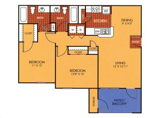 950 sq. ft. 50% floor plan