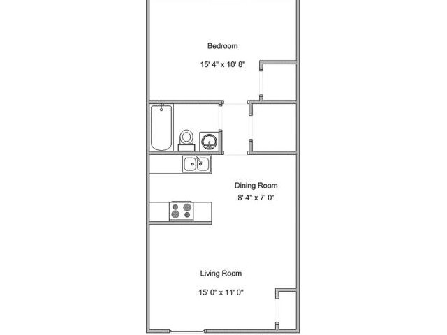 534 sq. ft. A1 floor plan