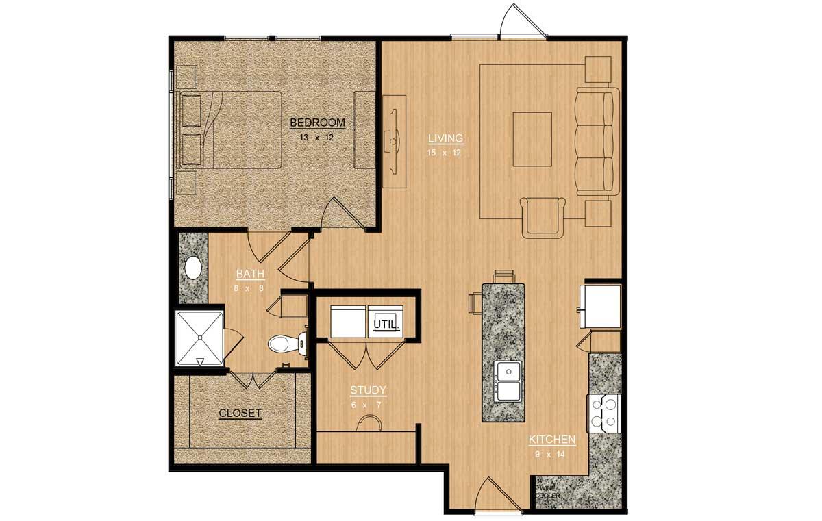 872 sq. ft. Lilac floor plan