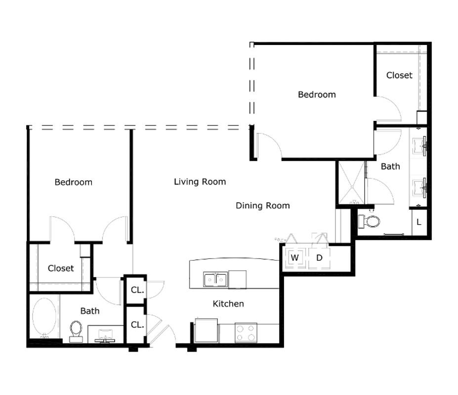 1,185 sq. ft. B3-Alt floor plan
