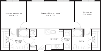 1,152 sq. ft. 6B2 floor plan