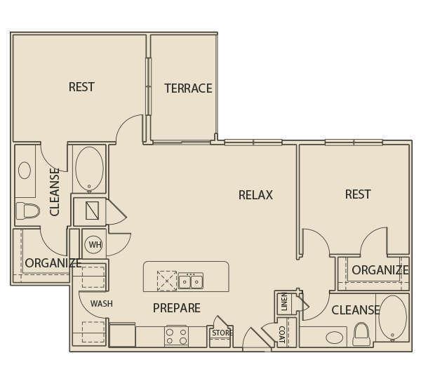 1,133 sq. ft. B1T floor plan