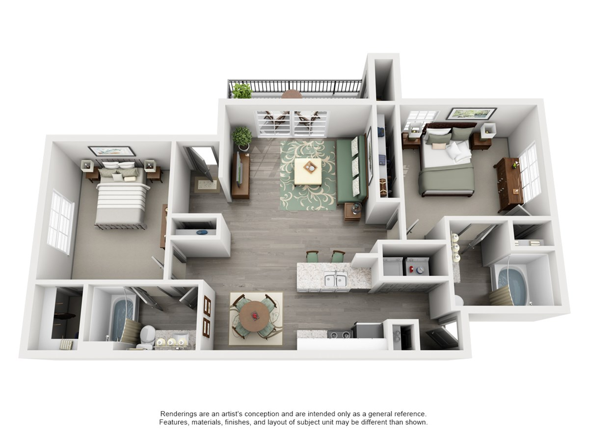 948 sq. ft. Knoll floor plan