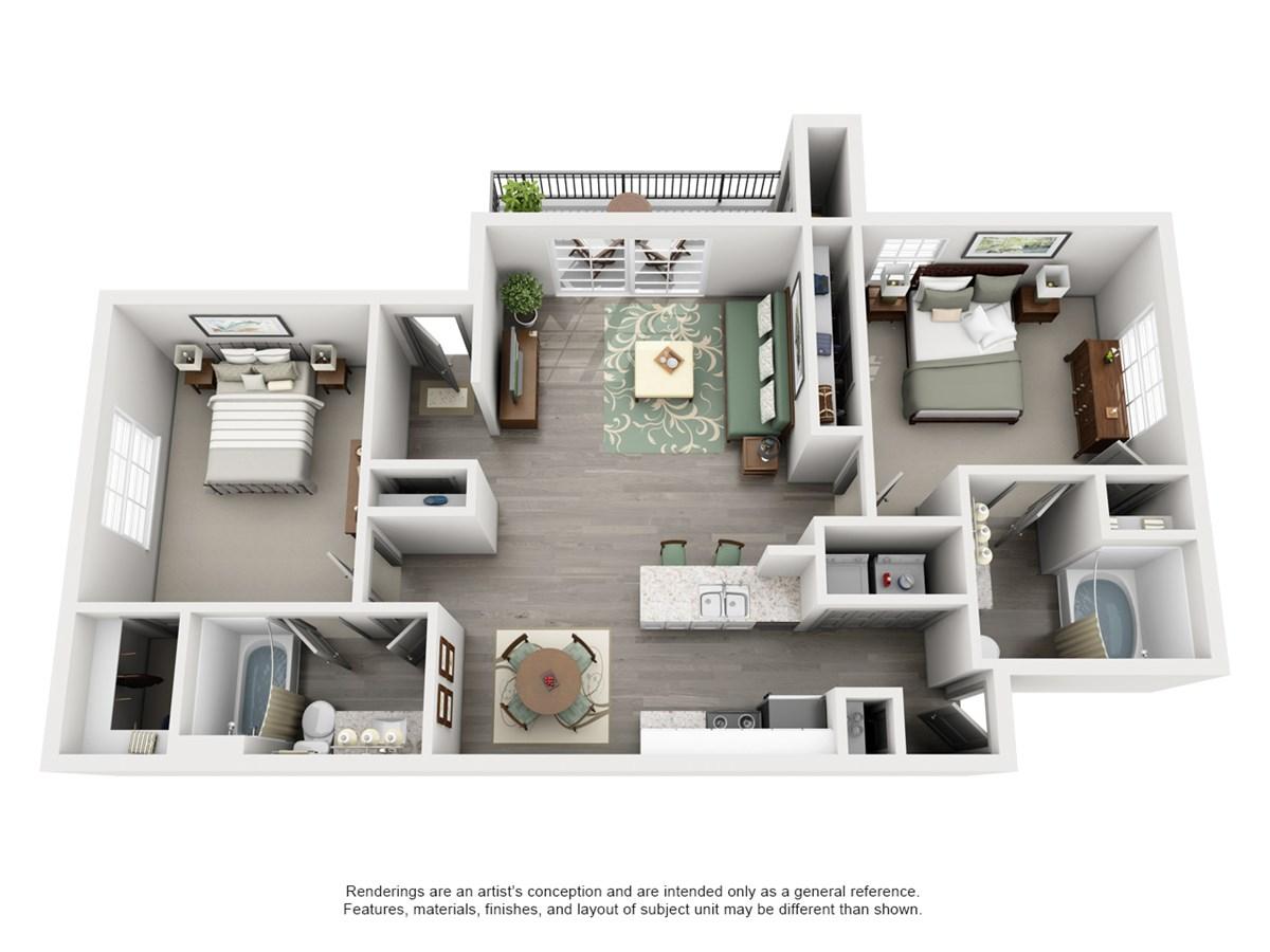 948 sq. ft. KNOLL floor plan
