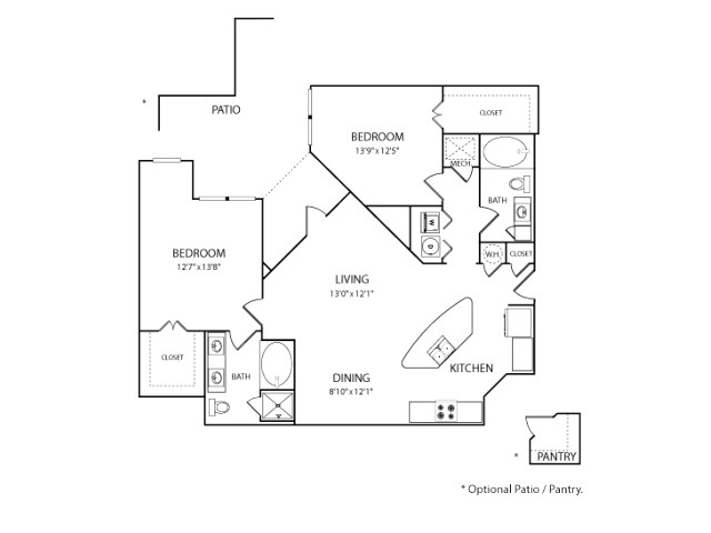 1,230 sq. ft. to 1,255 sq. ft. B2 floor plan