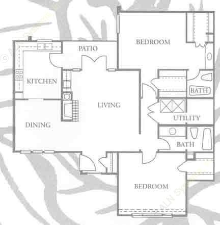1,186 sq. ft. B-3 floor plan