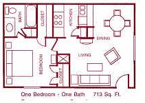 713 sq. ft. D floor plan