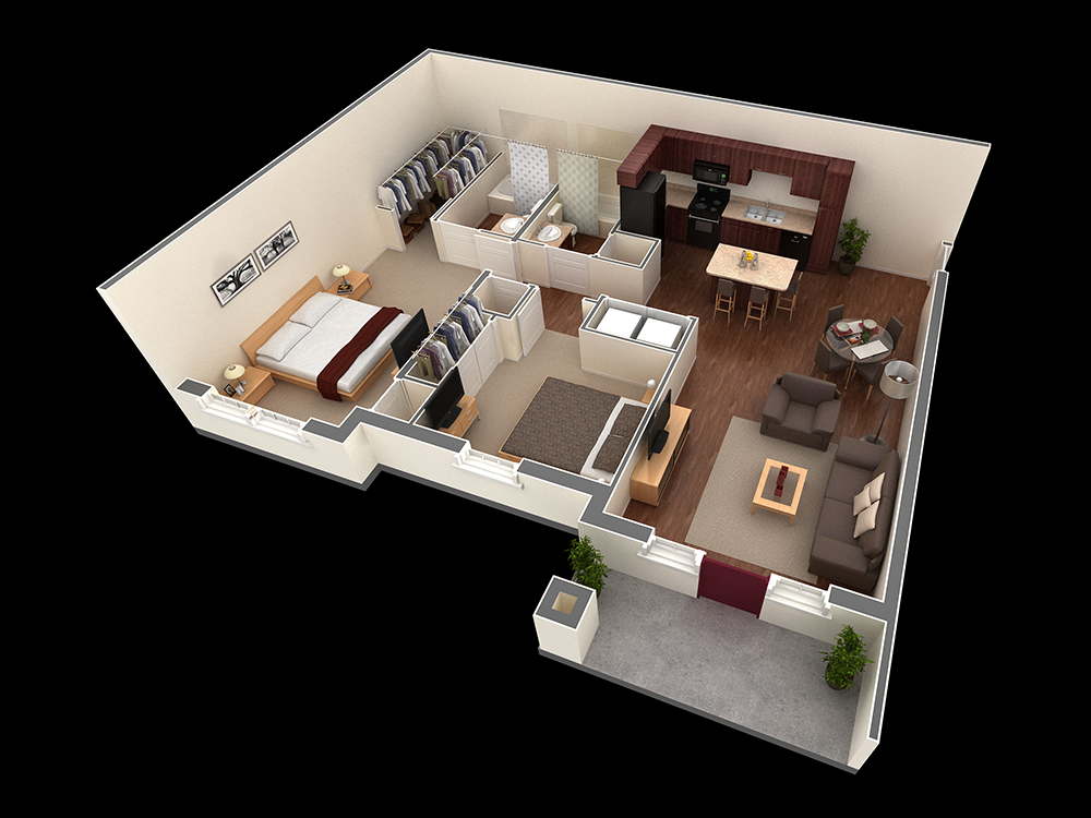 1,080 sq. ft. Mathis floor plan