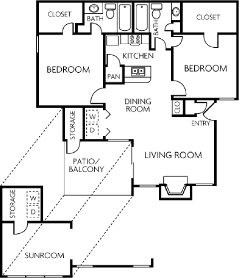 1,031 sq. ft. 2B floor plan