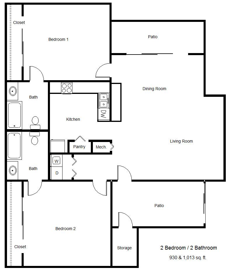 930 sq. ft. 60% floor plan