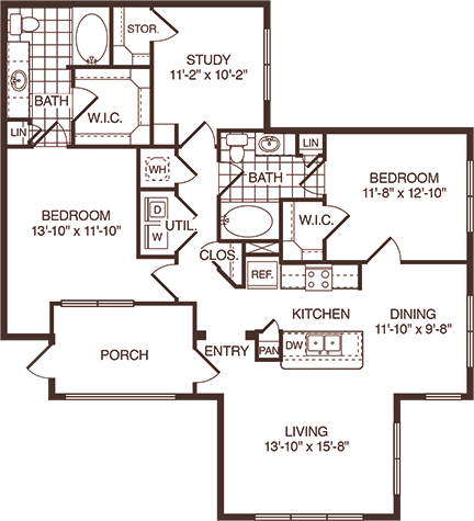 1,319 sq. ft. Parker floor plan