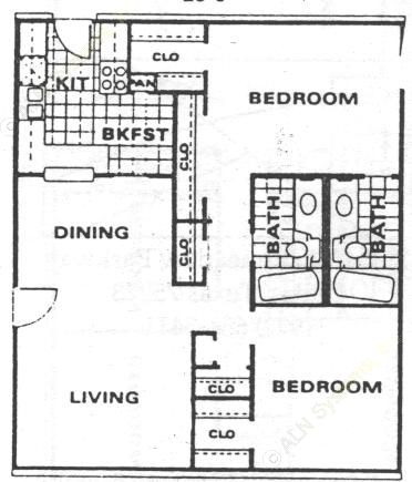 1,001 sq. ft. B1 floor plan