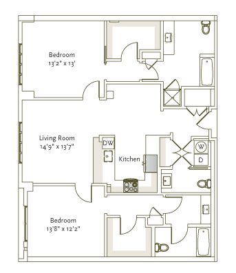 1,310 sq. ft. B3-1A floor plan