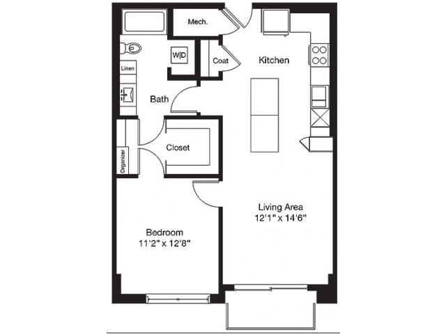 789 sq. ft. TC floor plan