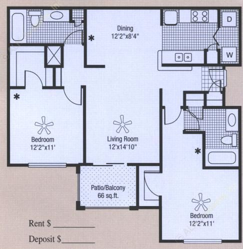 1,079 sq. ft. to 1,145 sq. ft. floor plan