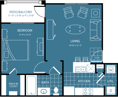 608 sq. ft. 2nd/3rd Flr floor plan