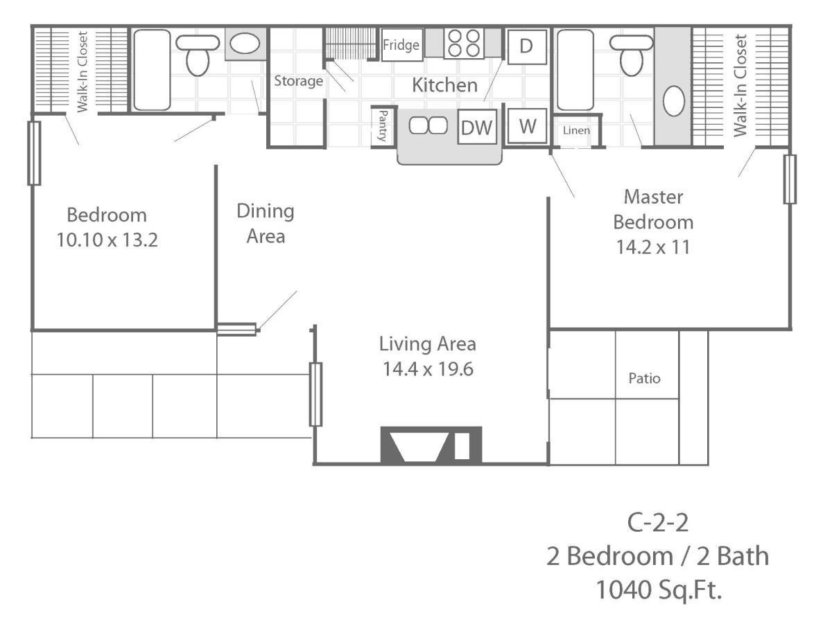 1,040 sq. ft. C2 floor plan