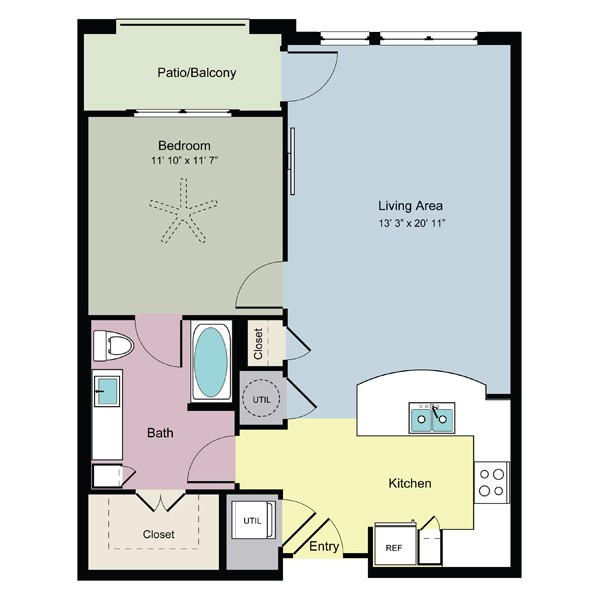 805 sq. ft. Flow (A1E) floor plan
