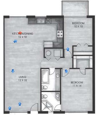 1,026 sq. ft. B2 floor plan