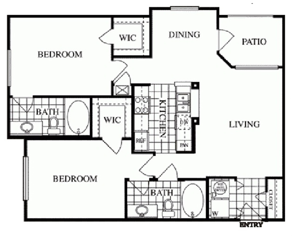 1,019 sq. ft. Windsor/E floor plan