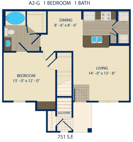 1,198 sq. ft. JENNINGS floor plan