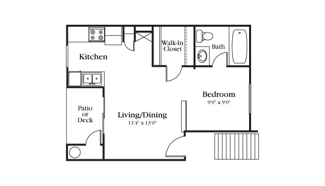 396 sq. ft. E1-100 floor plan