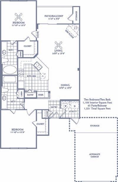 1,158 sq. ft. B4 floor plan