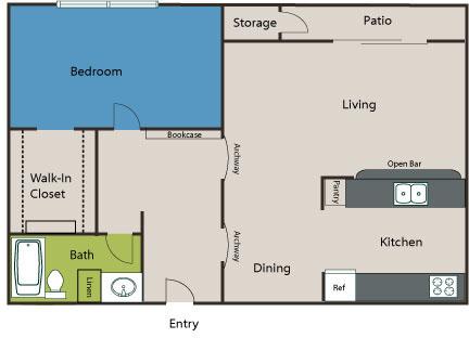 779 sq. ft. A3 floor plan