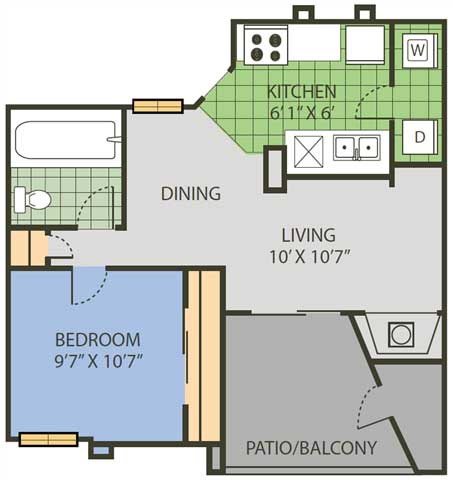 659 sq. ft. Volley floor plan