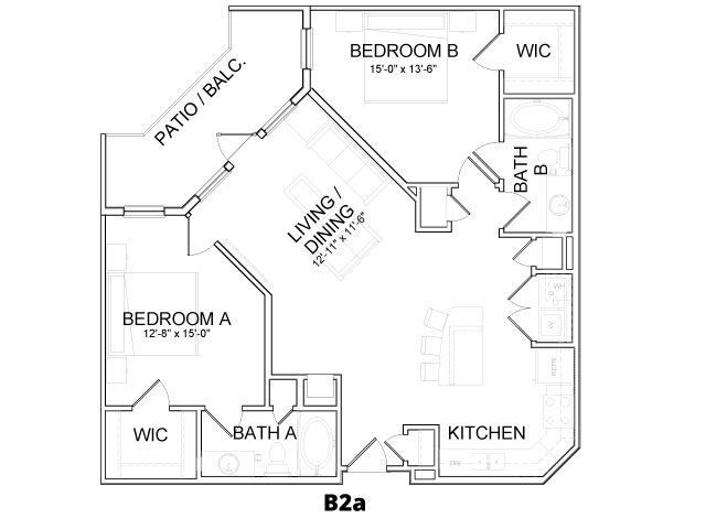 1,126 sq. ft. B2A floor plan