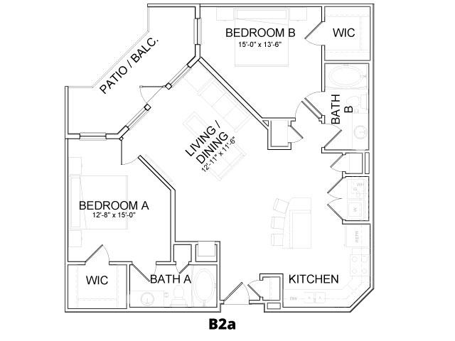 1,126 sq. ft. B2A floor plan