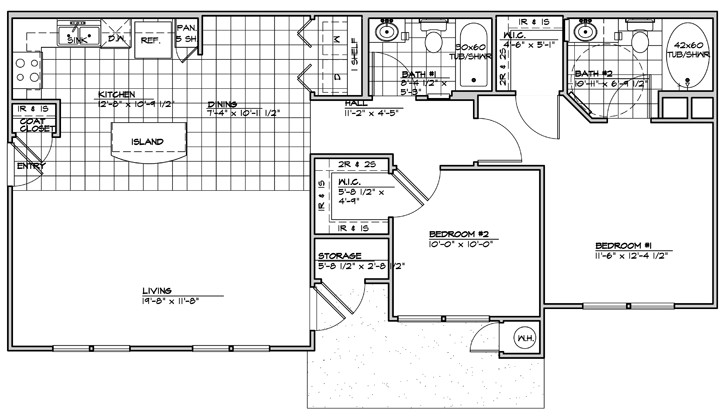 1,005 sq. ft. 60% floor plan