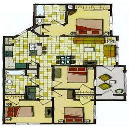 1,250 sq. ft. 50% floor plan
