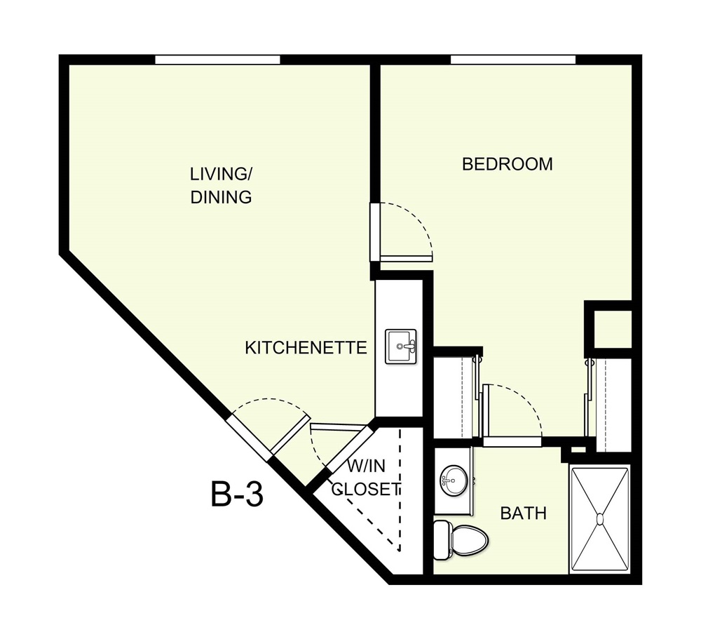 554 sq. ft. B3 floor plan