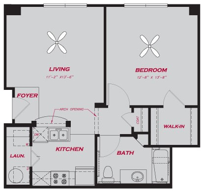 687 sq. ft. A1.1 floor plan